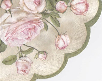 Set of 3(three) decoupage napkins Beauty Roses  round : Ø32cm for decoupage, decoupage under glass,scrapbooking and other art and crafts