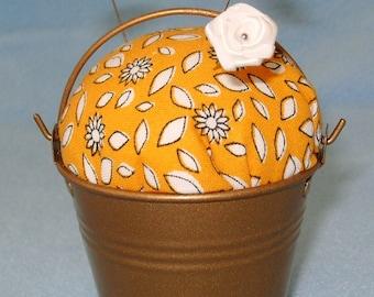 Handmade Gold Bucket Pail Pin Cushion Pincushion Sew Sewing Crafts Pins Needles