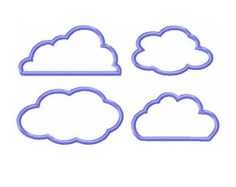 Applique Clouds Embroidery Designs - 4 Different Designs - Instant Download