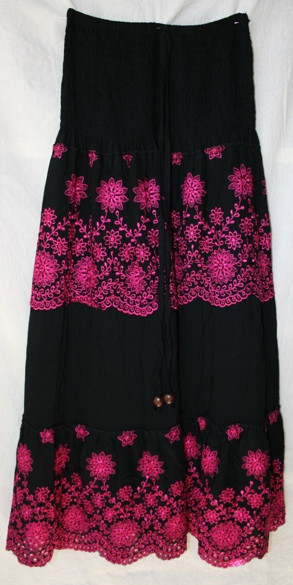 Womens embroidered skirt mexican long floral