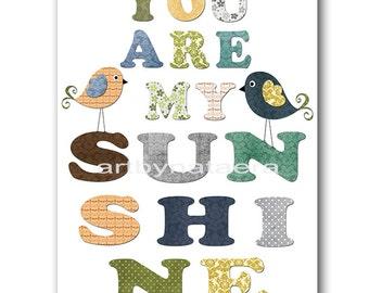 You Are My Sunshine INSTANT DOWNLOAD Art Digital Baby Room Digital Art Baby Boy Nursery Decor Download Digital Download Art 8x10 11X14 Gray