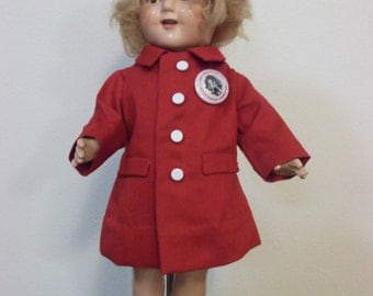 Shirley Temple Doll coat for  a 17 inch compo made of cottom pique with matching hat.