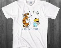 Calvin & Hobbes T-shirt Tiger and a Boy Blue Dance comics fan Youth Adult toddler size Tee Shirts