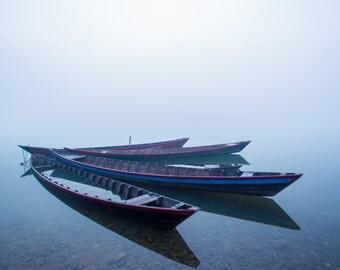 Three Boats on the Kaladan River, Myanmar  - Fine Art Photograph (Matted)