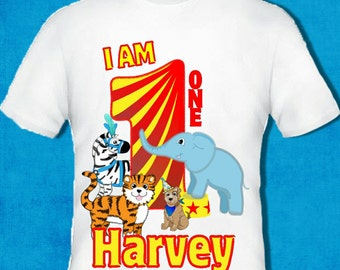 Any age and name added circus birthday t shirt top boys & girl 1st 2nd personalised
