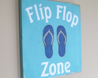 Flip Flop Sign / Beach House Decor / Flip Flop Decor / Teal Decor