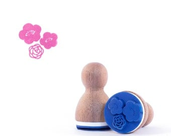 Romantic flowers rubbers stamp