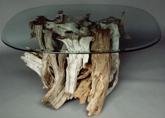 Driftwood coffee table style 1 handmade from reclaimed for Driftwood tables handmade