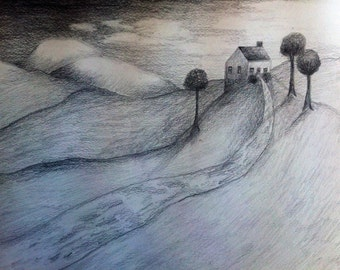 House on a hill: 9x12 inches