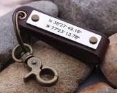 GPS Coordinate keychain - Latitude Longitude keychain - Personalized her key chain - Gift for Him