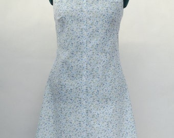 Blue Floral Shift Dress with Bow - UK 14