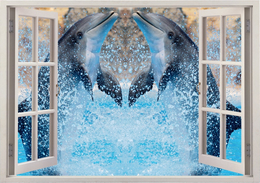 Dolphin wall sticker 3d window dolphin wall decal for home for Dolphin wall mural