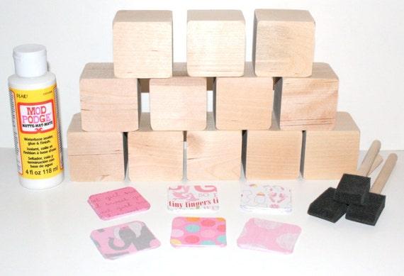 Diy wood baby blocks baby shower craft baby girl 2 inch for Child craft wooden blocks