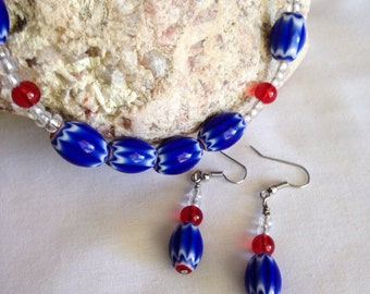 SALE - Blue beaded necklace set, blue necklace set, blue jewelry set, red necklace set, beaded necklace set, 4th of July necklace set