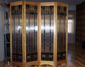 Glass Room Divider stained glass room divider 3-panel screen bordeaux model by