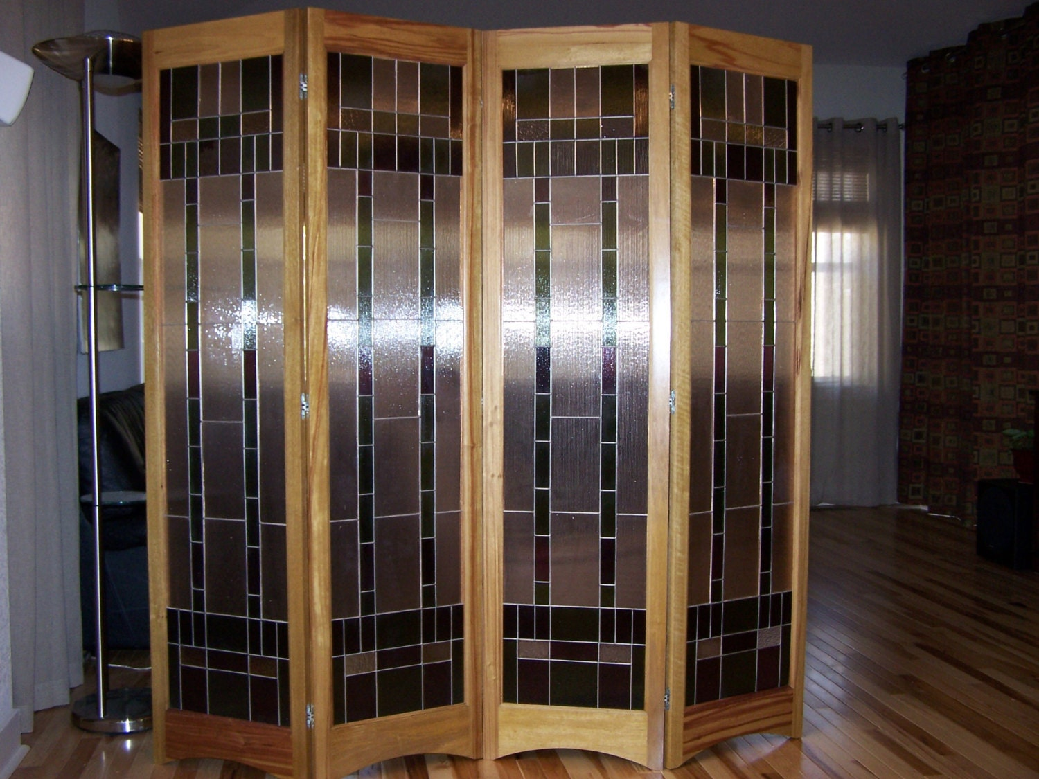 Stained Glass Room Divider 4 Panel Screen Spring Breeze