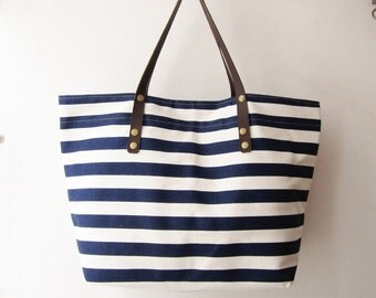 stripes canvas tote bag weekender bag beach tote in navy gym bag nautical  oversized beach bag leather handles straps bridesmaid gift T001
