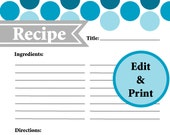 Full Page Recipe Card - Instant Download - Fillable & Printable