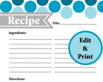 Popular items for full page on etsy for Full page recipe template for word