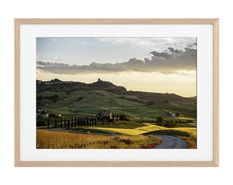 Tuscany landscape, hills photography, italian landscape, countryside, yellow fields, Val d'Orcia, Siena,Fine Art Photography.