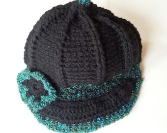 Black Crochet Newsboy with Flower Women's Hat