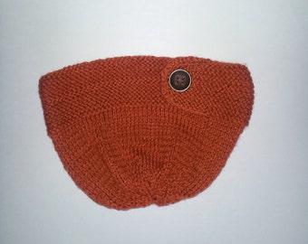 Terracotta Dark Orange Key Hole with Button Women's knit Hat