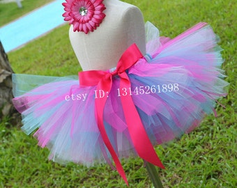 Birthday  party Tutu hot pink and purple  toddler tutu baby girl skirts handmade Tutu
