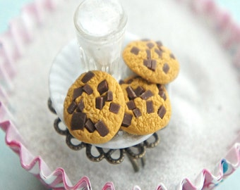 cookies and milk ring- miniature food jewelry, cookie ring