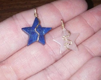 14k gold wire wrapped stars of lapis and rose quartz