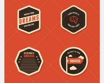 Vintage Motivational Badge Vectors