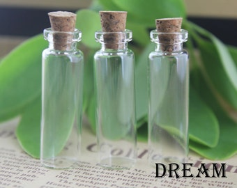 50pcs/lot, 16mm dia Clear Glass Mini Glass Bottles, Mini Bottles with Corks Miniature