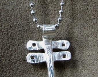 Sterling Silver Hand Forged (Hammered) Dragonfly Pendant with Square Cut-Outs