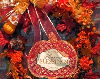 Large, Harvest Blessings Autumn Grapevine Wreath, item #2