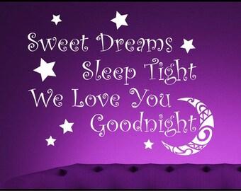 Sweet Dreams Bedroom Vinyl Wall Sticker Quote Decorative Mural Bedroom Girl Boy Wall Stickers WSD604