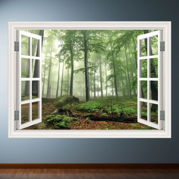 Window Wall Art : Woods trees window frame wall art sticker decal transfer mural