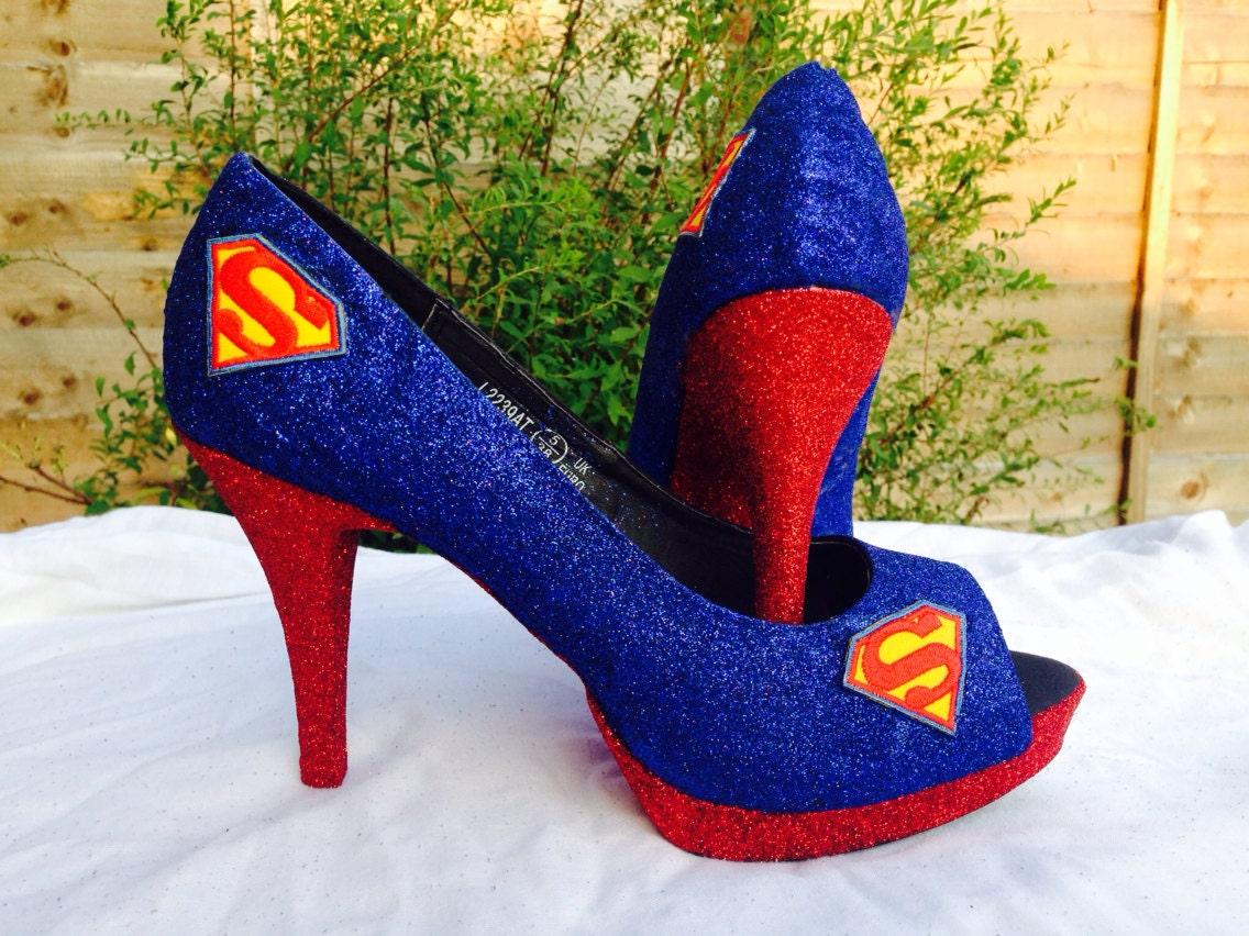 Womens Shoes Heels Superman Superhero Glitter Shoes Open Toe