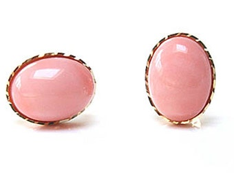 Solid 9ct Gold Coral Stud Earrings S317