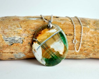 Handmade Agate Pendant with Silver Chain, Natural Stone, Statement Necklace, Vintage Jewelry, Agate,  Brown, Green, Beige