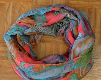 Coral Seashell Corch Light Weight X-large Infinity Scarf Loop Cowl