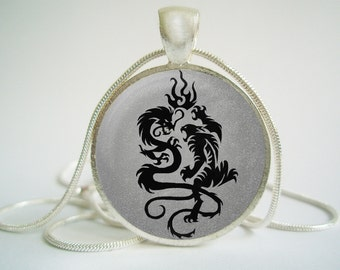 Dragon vs Tiger Pendant (Antique.bronze./.Silver.tone)
