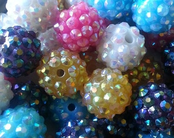 13mm Mixed AB Bumpy, Berry Beads