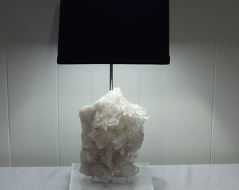 "Magnificent White Quartz Crystal Table Lamp ""Diana""//Gemstone Lamp//Mineral Lamp//Geode Lamp"