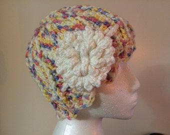 Womens crochet multicolor hat with white flower