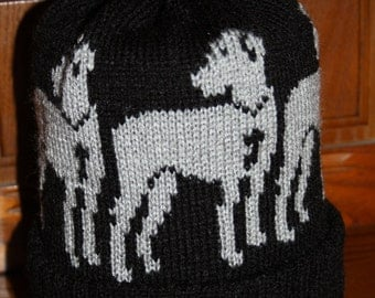 Great Dane Pattern Hand Made Knitted Bobble Hat or Choose a Beanie Hat, Acrylic Winter Novelty Hat