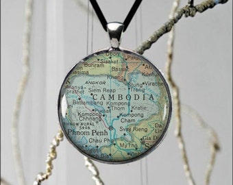 Phnom Penh, Cambodia Map Necklace Vintage Made To Order Gift Idea Fun Jewelry - 2 sizes available