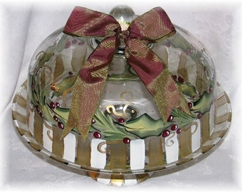 Hand painted reversible footed cake dome server