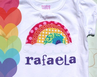 Personalized Rainbow and Cloud Tee