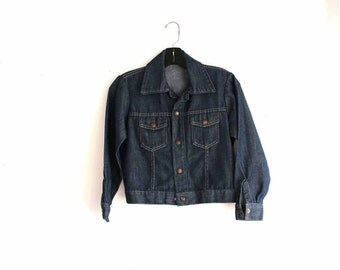 vintage Big Smith jean jacket . kids dark denim jacket . 1970s denim jacket . kids jean jacket