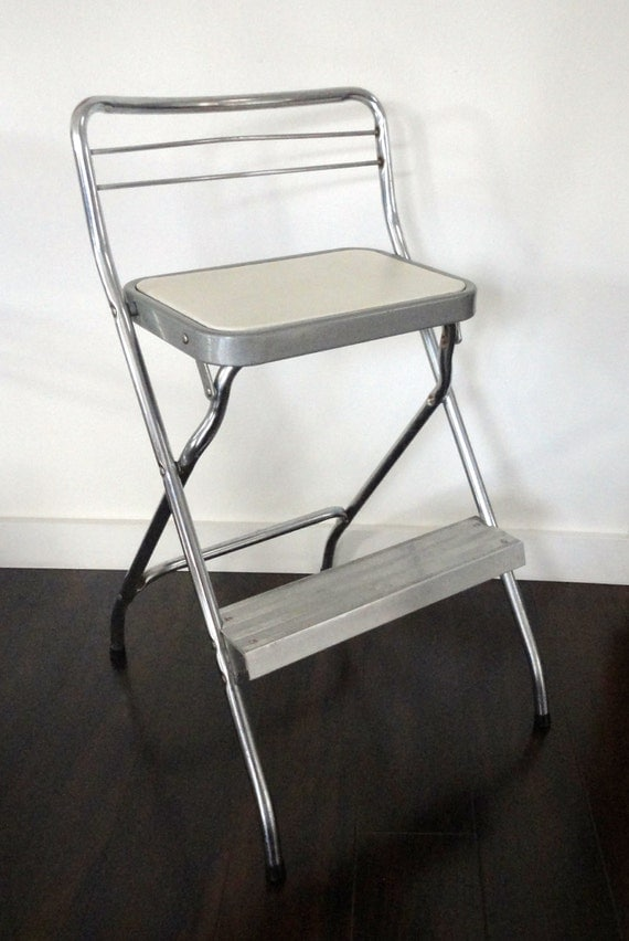 vintage step stool chair cosco chrome and white folding stool. Black Bedroom Furniture Sets. Home Design Ideas