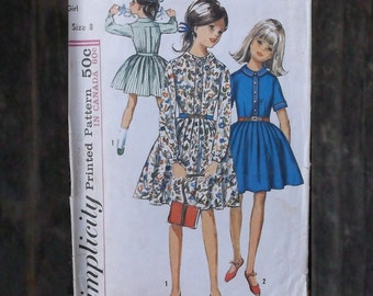 50s to 60s Vintage Girls School Dress - Simplicity 6110 Sewing Pattern // Child Size 8 Pleated Full Skirt/